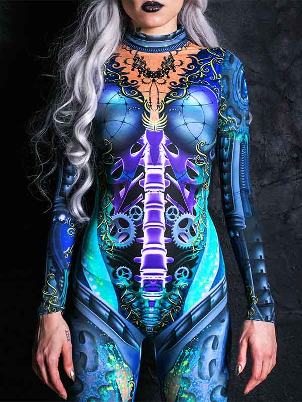 Lady Halloween Sexy Blue Fluorescent Jumpsuit