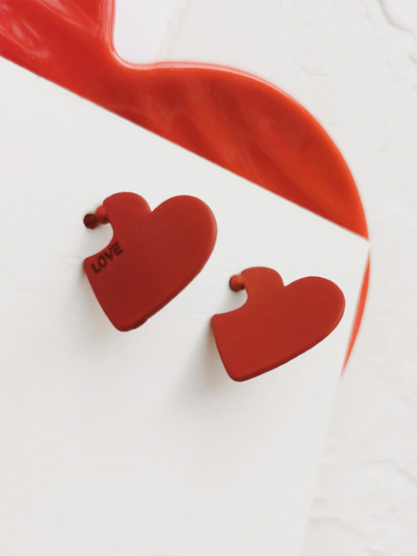 Women's Valentine LOVE Heart Red Stud Earrings
