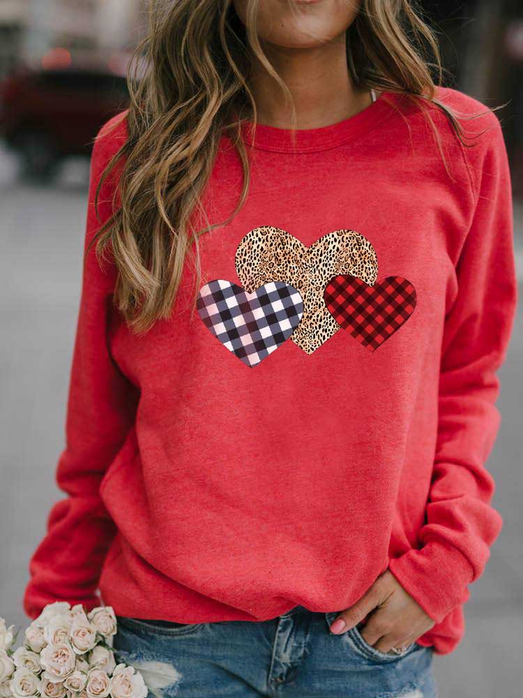 Women's Leopard Plaid Heart Sweatshirt