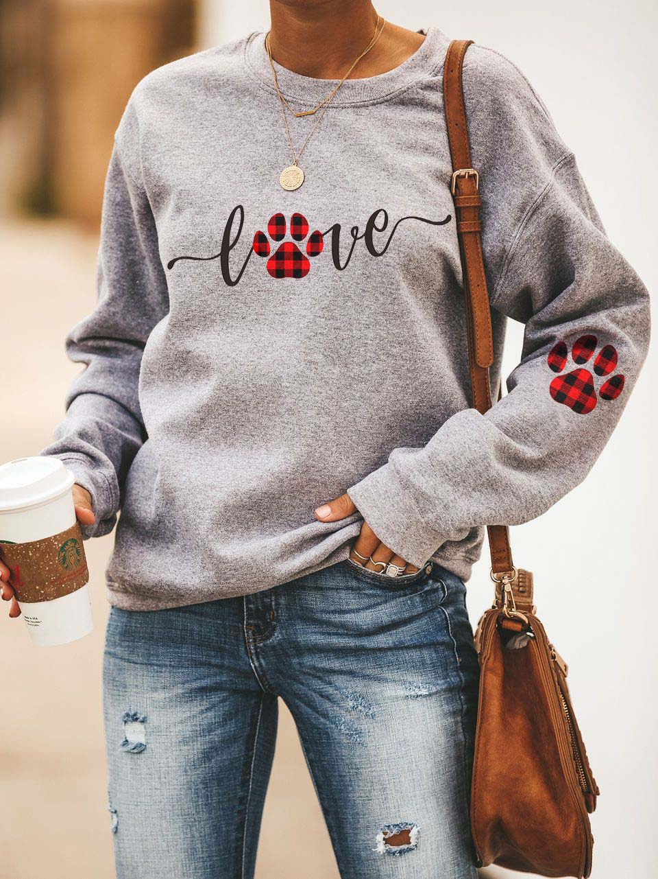 Dog Love Paw Print Cozy Sweatshirt