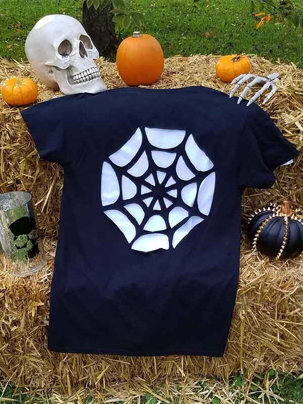Ladies Halloween Spider Web Short Sleeve T-Shirt
