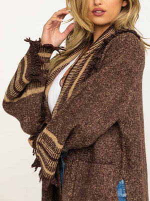 Women's Knitted Fringe Long Sleeve Jacket