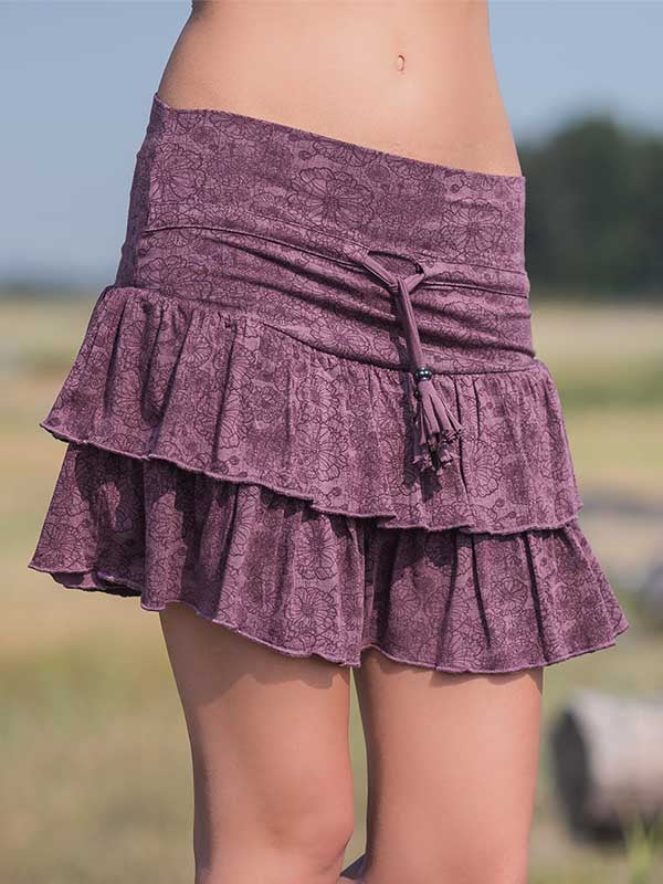 Ladies Floral Pattern Pleated Skirt