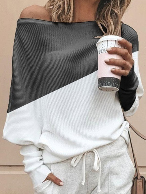 Women's Contrast Off-Shoulder Long Sleeve Sweatshirt