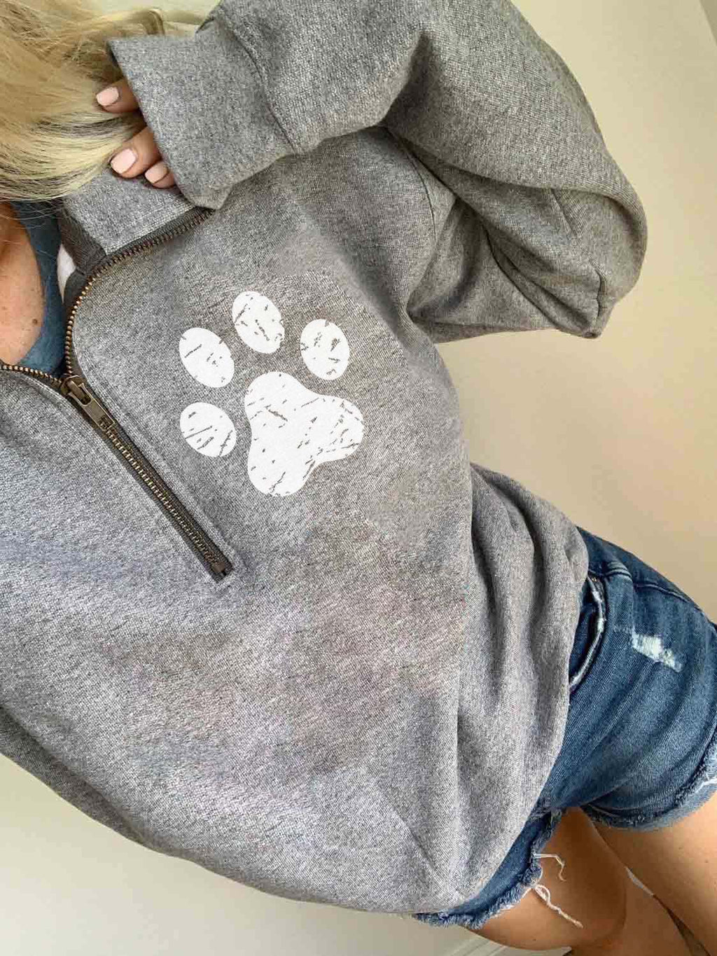 Cozy Dog Paw Print Zip Top