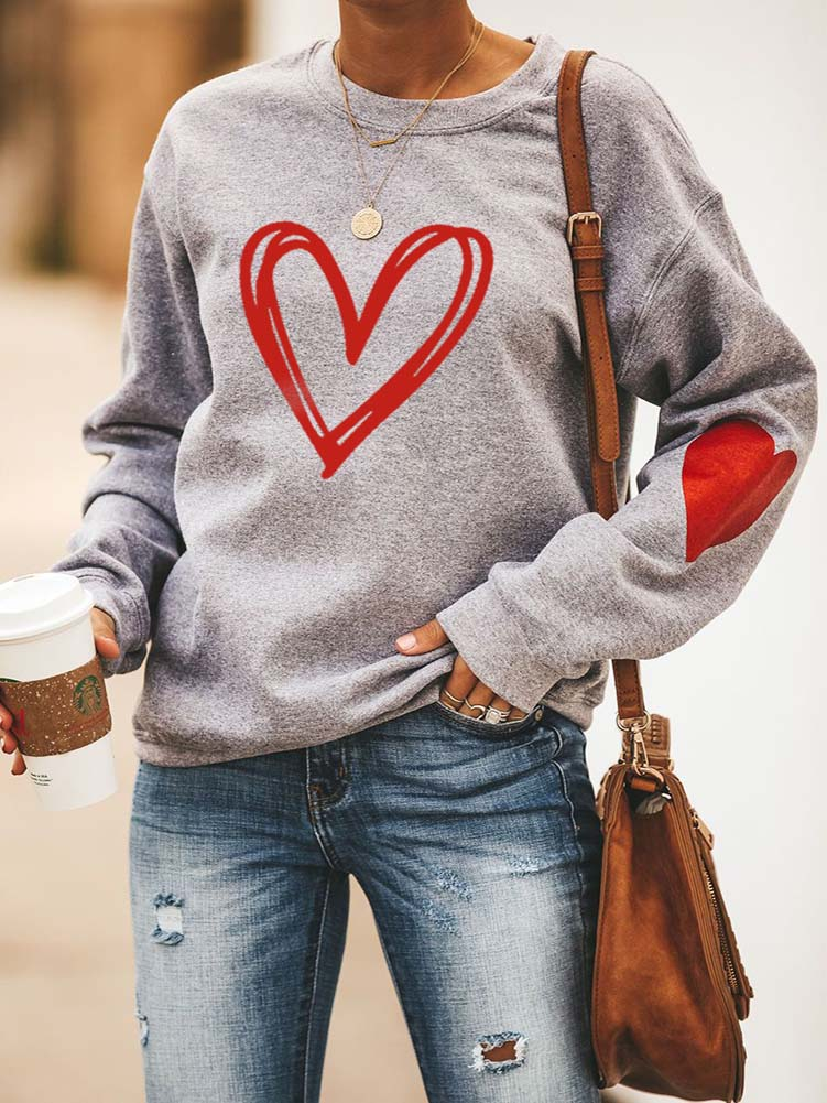 Heart Printed Love Holiday Casual Sweatshirt