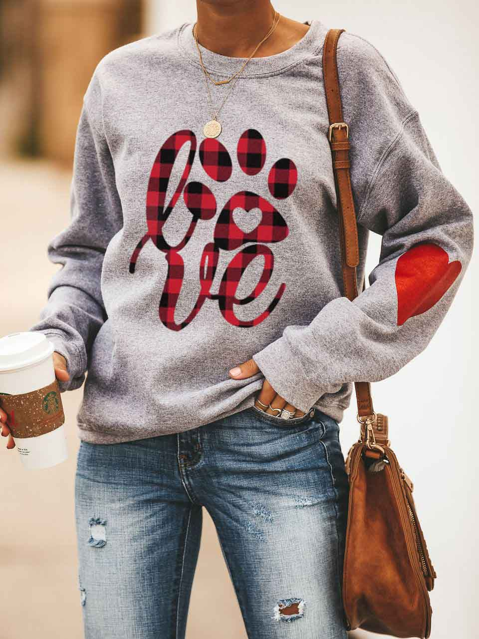 Women's  Love Dog Heart Design Sweatshirt