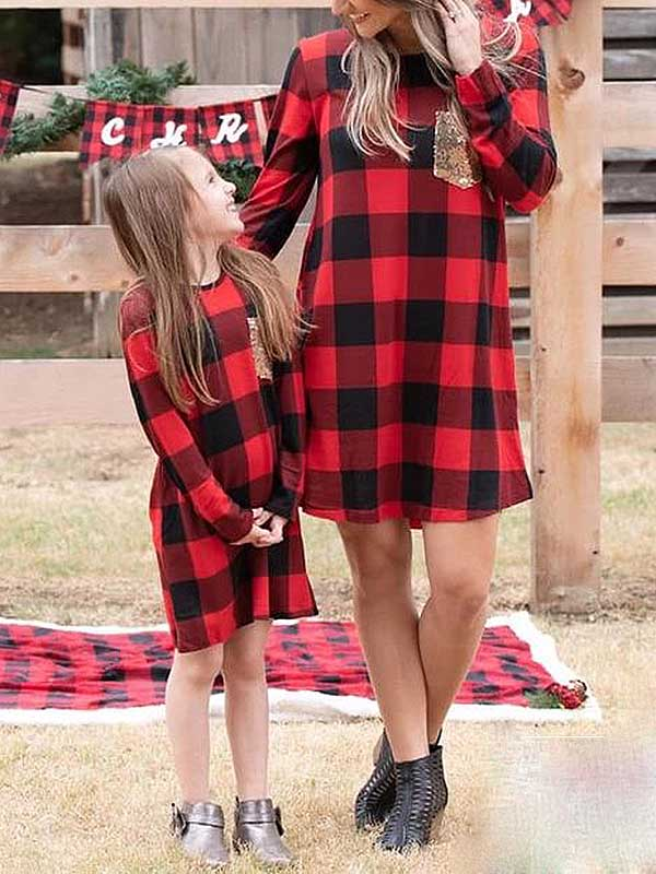 Christmas Red Plaid Print Parent-Child Dress