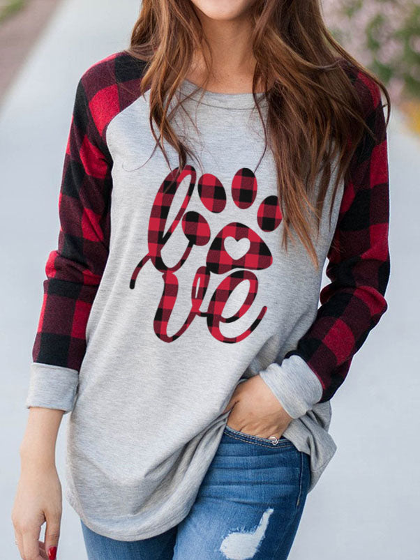 Women's LOVE Plaid Dog Paw T-Shirt