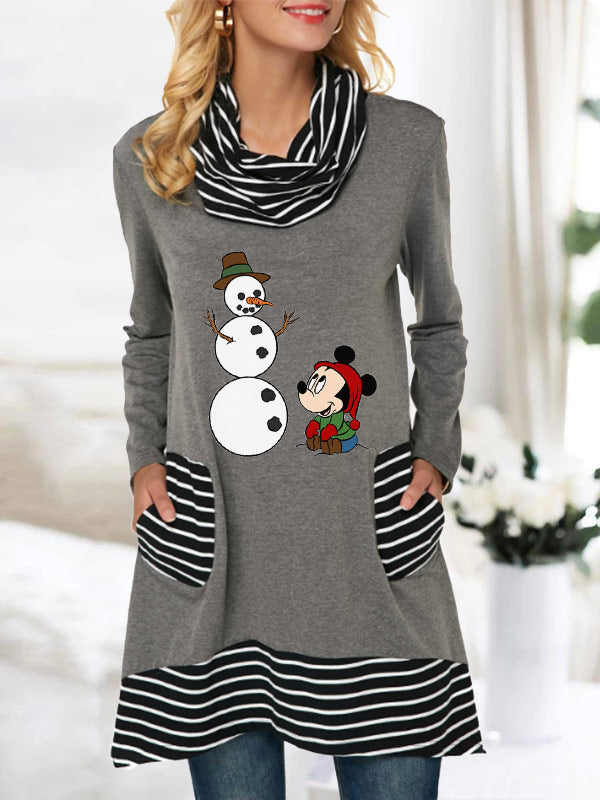 Ladies Cute Cartoon Snowman Print Striped Pocket Heap Collar Top