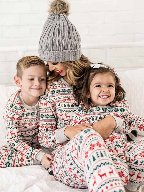 Christmas Fawn Print Parent-child Pajama Set
