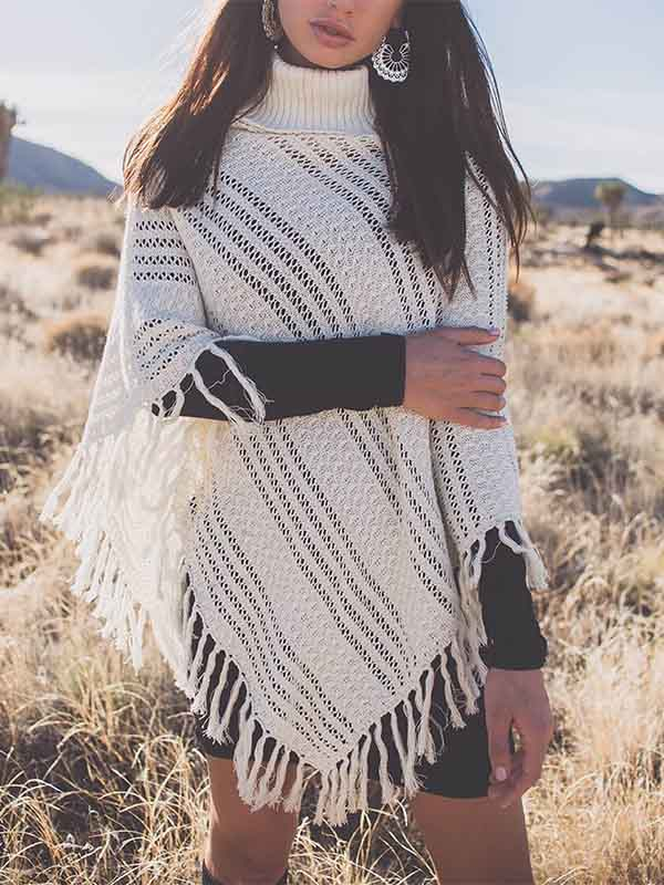 Women's Woven Turtleneck Tassel Cloak