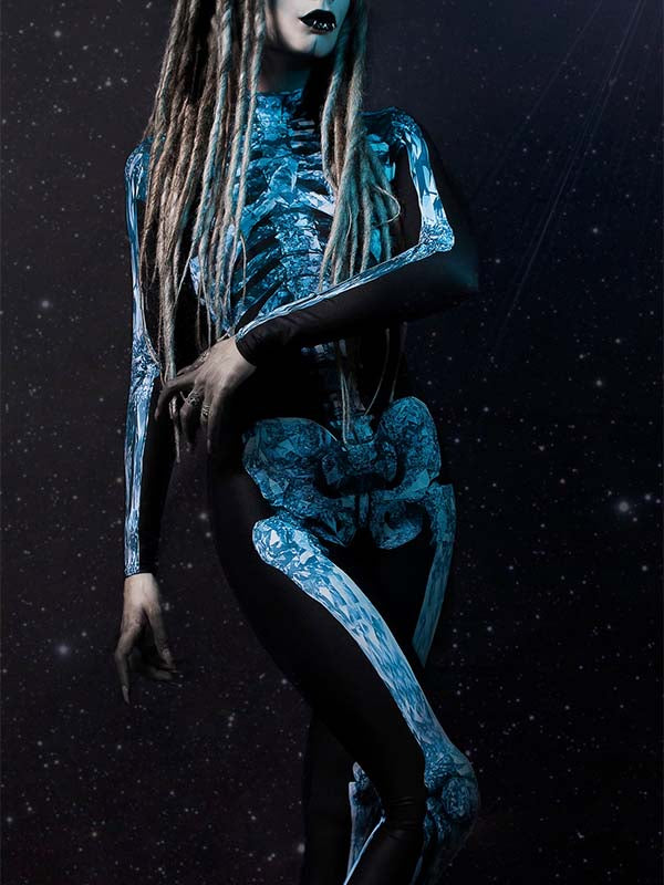 Ladies Halloween Sexy Blue Skeleton Jumpsuit