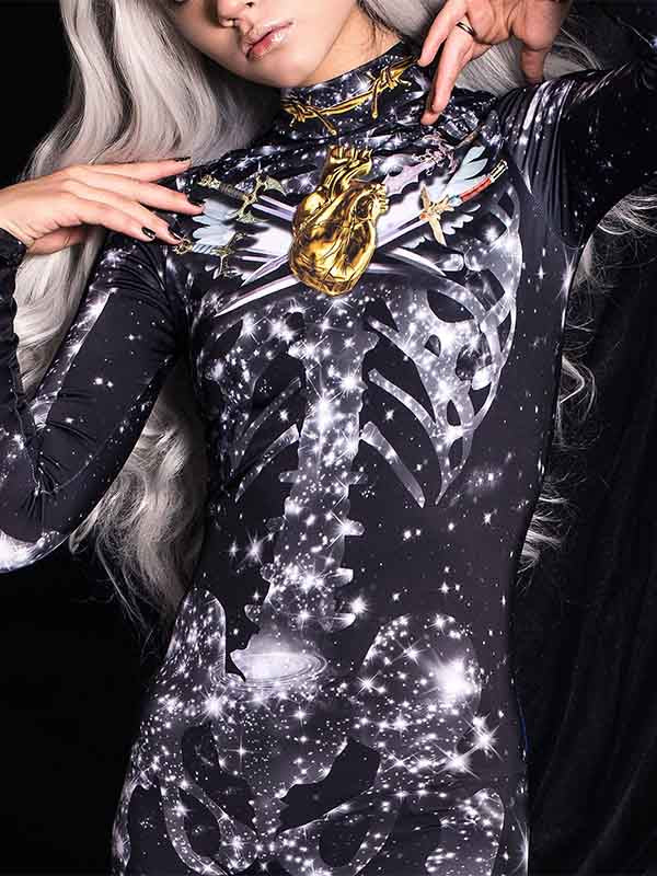 Lady Halloween Sexy Black Star Jumpsuit
