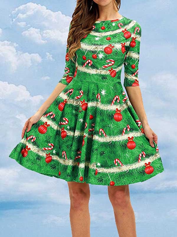 Ladies Vintage Christmas Sleeve Dress