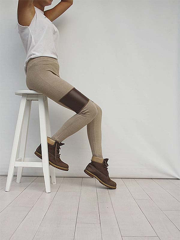 Women's Brown Faux Leather Patch Leggings