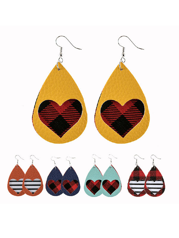Valentine's Day Red Plaid Water Drop Hollow Heart Earrings