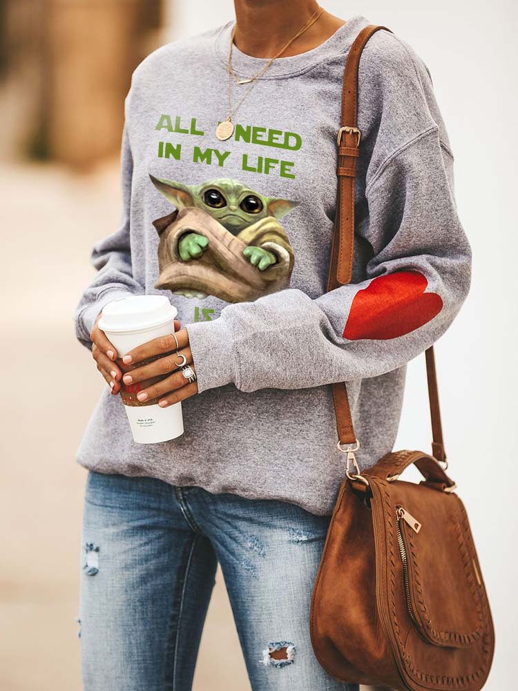 All I Need In My Life Is A Baby Yoda Cozy Sweatshirt