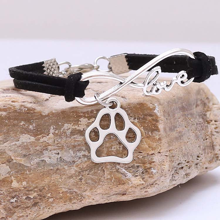 Silver Love Dog Paw Bracelet