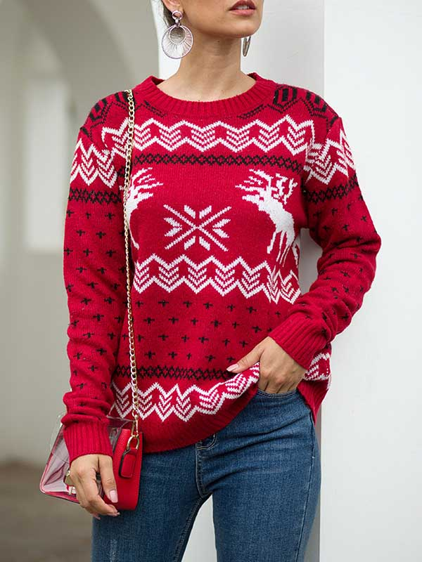 Ladies Christmas Fawn Print Hooded Sweater