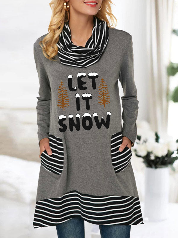 Women's Let It Snow Print Striped Pocket Stacked Collar Top