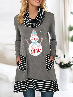 Women's Let It Snow Striped Pocket Stacked Collar Top