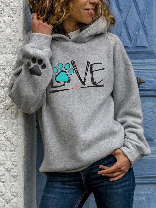 Dog Love Heart Printed Hooded Sweatshirt