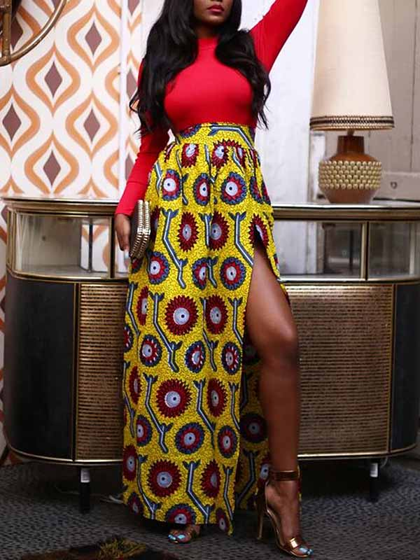Women's African Print Side Sexy Split Skirt