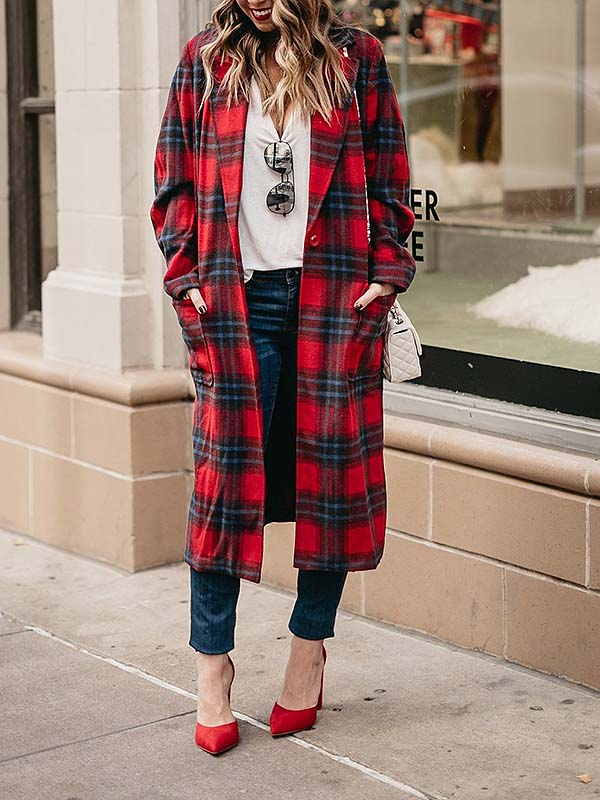 Ladies' Elegant Lapel Plaid Printed Long Jacket