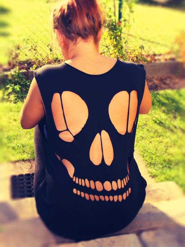 Lady Black Skull Halloween Vest