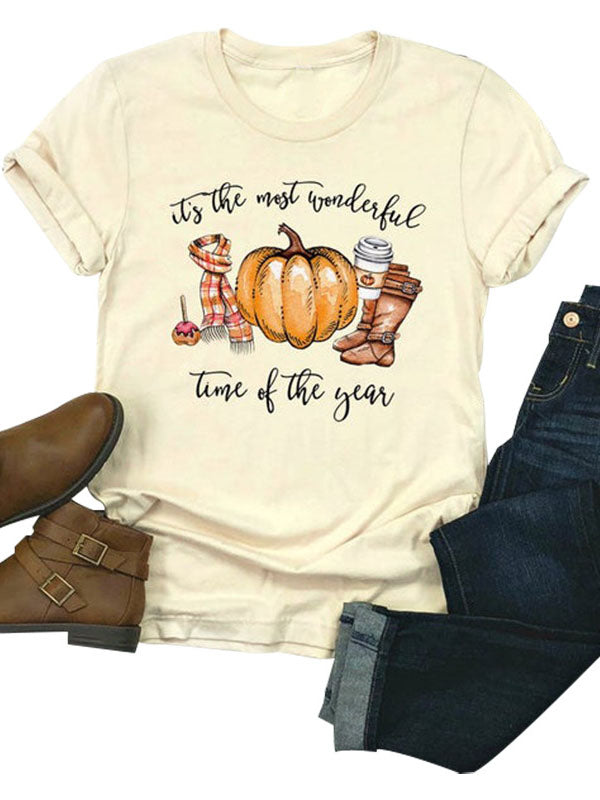 Ladies Halloween Pumpkin Round Neck Short Sleeve