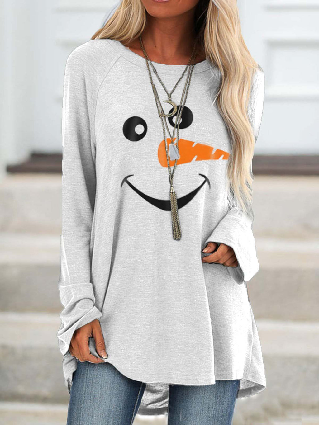 Women's Cozy Christmas Snowman Face Long Shirt