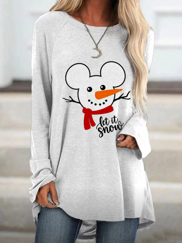 Women's Let it Snow Snowman Print Long Sleeve Top