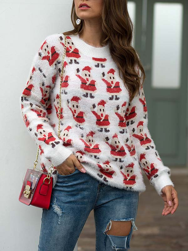 Ladies' Santa Printed Hooded Sweater