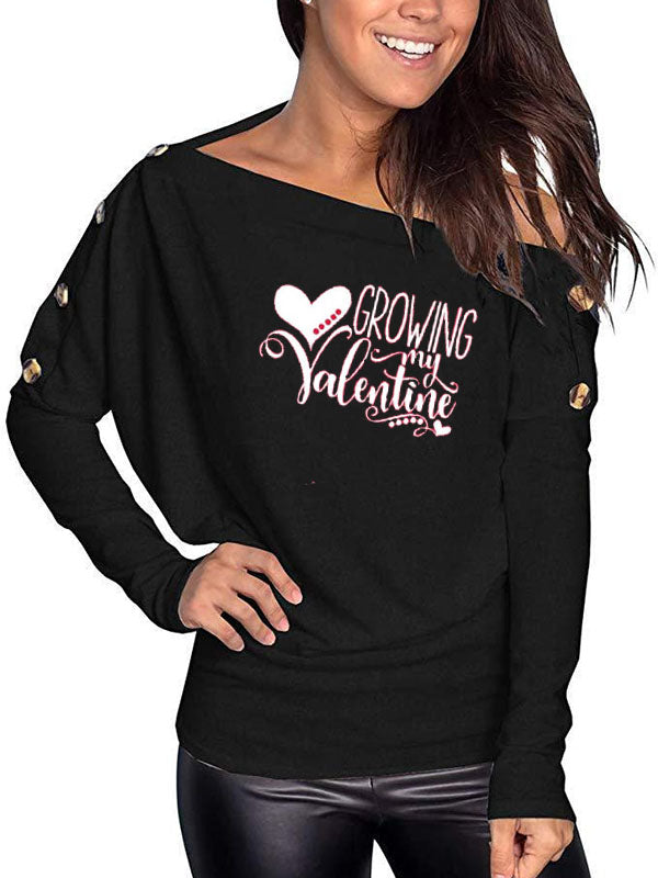 Women's Growing My Valentine Off Shoulder Top