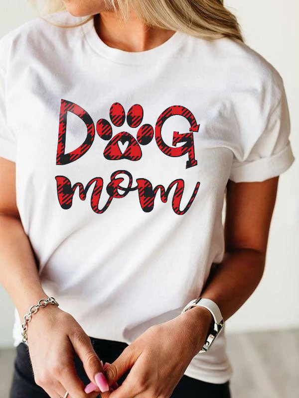 Dog Mom Plaid Printed Short Sleeve T-Shirt