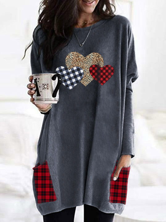 Women's Leopard Plaid Heart Valentine's Top