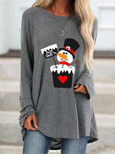 Women's Just chill'n Snowman Print Long Sleeve Top