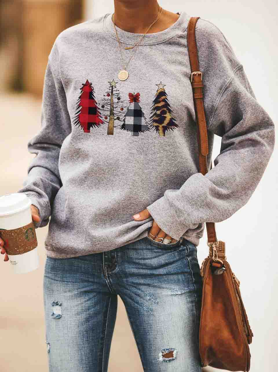 Christmas Tree Leopard Printed Pullover