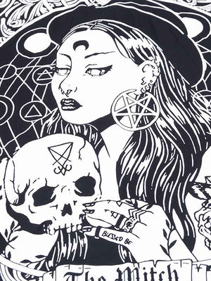 Ladies Halloween Dark Skull Print T-Shirt