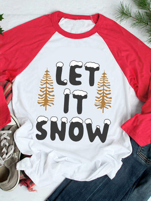 Women's Let It Snow Print Paneled Long Sleeve Top