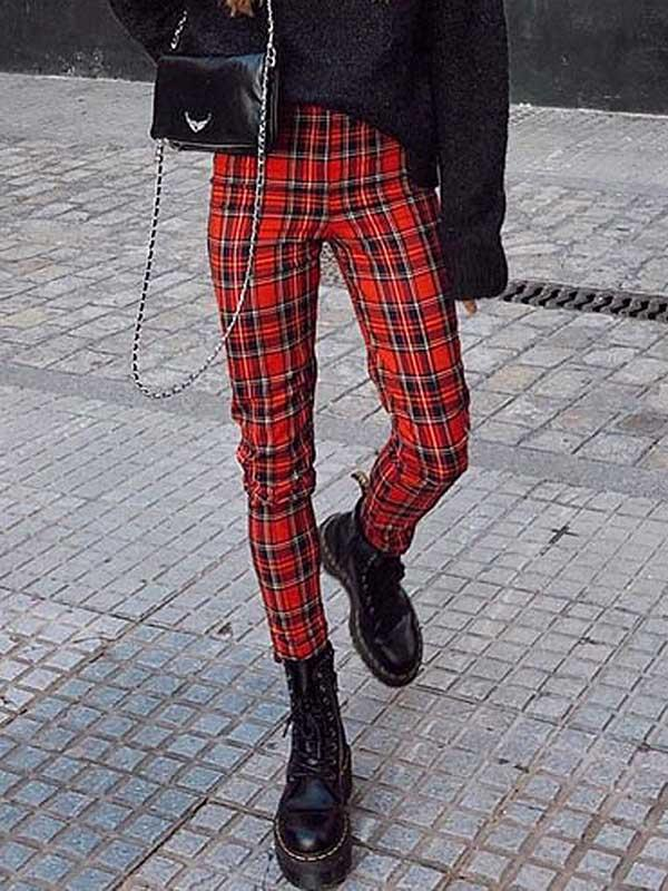 Ladies Christmas Wind Red Plaid Casual Pants