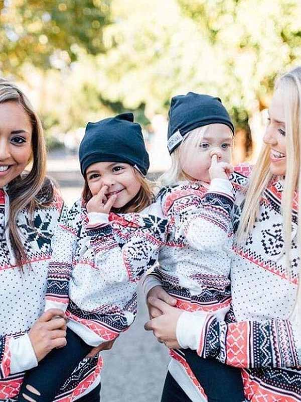 Christmas Snowflake Print Hooded Sweater Family Fitted