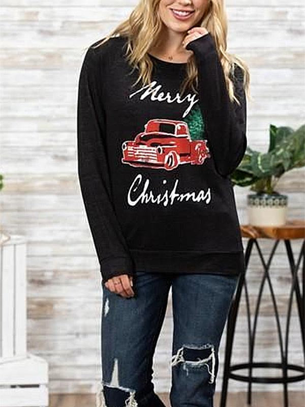 Ladies Christmas Letter Black Sweatshirt