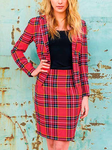 Ladies Sexy Christmas Plaid Print Suit Set