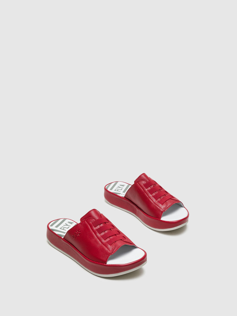 Fly London Mules mit Plateauabsatz in Rot