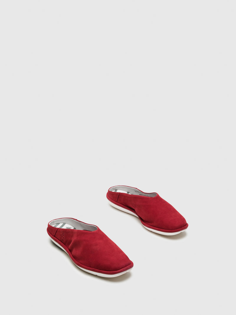 Fly London Mules mit runder Kappe in Rot