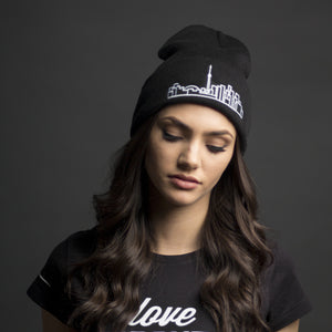Skyline Apparel - Beanie With Toronto Skyline Graphic - Black - Simple, fashionable travel-themed toque - Essential winter fashion