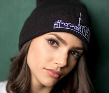 Load image into Gallery viewer, Skyline Apparel - Beanie With Toronto Skyline Graphic - Black - Simple, fashionable travel-themed toque - Essential winter fashion