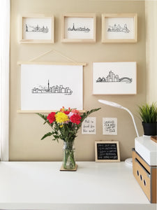 Digital-printed city skyline on wood frame